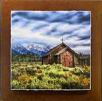"""Teton Chapel - Mixed Media - Wyoming<br /> <br /> Each unique piece is made to order. If I have the piece in stock I can ship it in 2-3 days. If I don't have it in stock and it has to be made, it will ship in 1-2 weeks. Feel free to contact me at chey.rouse@gmail.com before you order if you need the piece ASAP. <br /> <br /> The photograph is printed on a Silk photo paper, the edges of the photo are torn, photo is mounted to foam board, then I mount it to an 8""""x8"""" piece of rusted metal. The rust is unique on each piece...no two pieces are alike. PLEASE keep in mind that the rust on the piece(s) you receive may be slightly different than the photo. Each piece of metal is sealed after it is done """"rusting"""" and is titled, hand signed and, ready to hang. To see the detail for theses Mixed Media pieces please click on the 1st photo in this gallery. You will be able to see the detail of the torn paper edge as well as the back of the piece."""