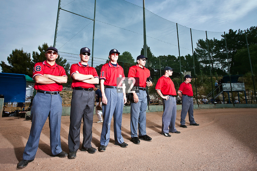 23 May 2009: Umpires pose prior to a game during the 2009 challenge de France, a tournament with the best French baseball teams - all eight elite league clubs - to determine a spot in the European Cup next year, at Montpellier, France. Savigny wins 4-1 over Senart.