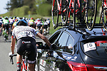 Daniela Reis (POR) Doltcini-Van Eyck Sport UCI Women Cycling at the team car during La Fleche Wallonne Femmes 2018 running 118.5km from Huy to Huy, Belgium. 18/04/2018.<br /> Picture: ASO/Thomas Maheux | Cyclefile.<br /> <br /> All photos usage must carry mandatory copyright credit (&copy; Cyclefile | ASO/Thomas Maheux)