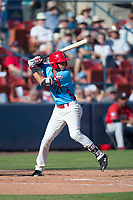 Spokane Indians third baseman Diosbel Arias (21) at bat during a Northwest League game against the Vancouver Canadians at Avista Stadium on September 2, 2018 in Spokane, Washington. The Spokane Indians defeated the Vancouver Canadians by a score of 3-1. (Zachary Lucy/Four Seam Images)