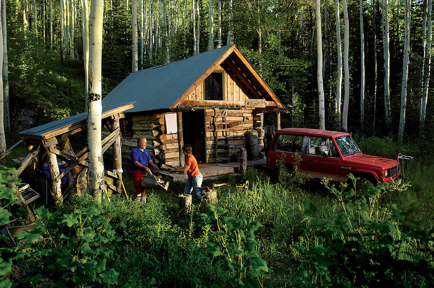 Cabin and lifestyle in the Colorado Rockie Mountains near Aspen, CO.
