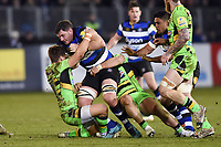James Phillips of Bath Rugby takes on the Northampton Saints defence. Aviva Premiership match, between Bath Rugby and Northampton Saints on February 9, 2018 at the Recreation Ground in Bath, England. Photo by: Patrick Khachfe / Onside Images