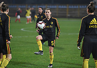 20191108 - Zapresic , BELGIUM : Belgian Shari Van Belle pictured during the female soccer game between the womensoccer teams of  Croatia and the Belgian Red Flames , the third women football game for Belgium in the qualification for the European Championship round in group H for England 2021, friday 8 th october 2019 at the NK Inter Zapresic stadium near Zagreb , Croatia .  PHOTO SPORTPIX.BE | DAVID CATRY