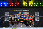 The podium winners Quick-Step Floors, 2nd Team Sunweb and 3rd BMC Racing Team at the end of the Men's Elite Team Time Trial of the 2018 UCI Road World Championships running 62.8km from &Ouml;tztal to Innsbruck, Innsbruck-Tirol, Austria 2018. 23rd September 2018.<br /> Picture: Innsbruck-Tirol 2018/Dario Belingheri | Cyclefile<br /> <br /> <br /> All photos usage must carry mandatory copyright credit (&copy; Cyclefile | Innsbruck-Tirol 2018/Dario Belingheri)