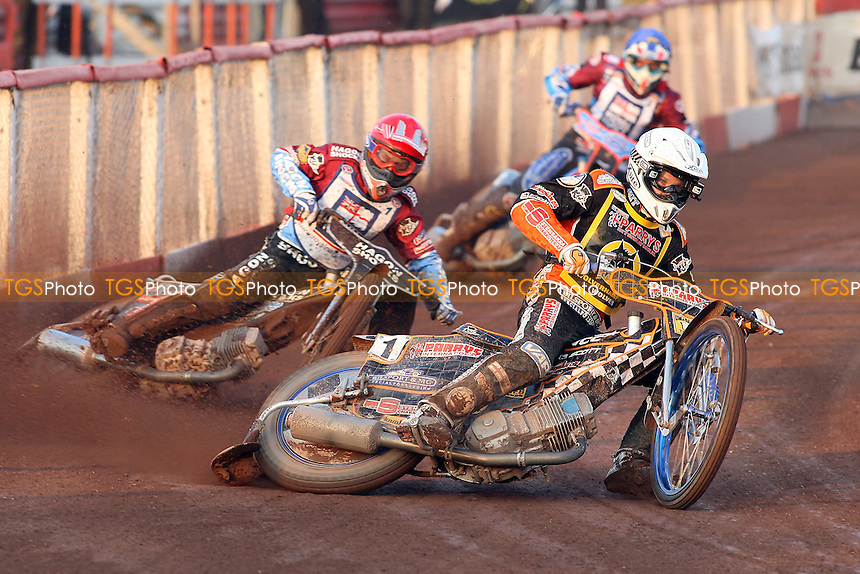 Heat 1 re-run: F Lindgren (white), Richardson (red|) and Nieminen - Lakeside Hammers vs Wolverhampton Wolves - Sky Sports Elite League Speedway at Arena Essex Raceway, Purfleet - 24/05/10 - MANDATORY CREDIT: Gavin Ellis/TGSPHOTO - Self billing applies where appropriate - Tel: 0845 094 6026