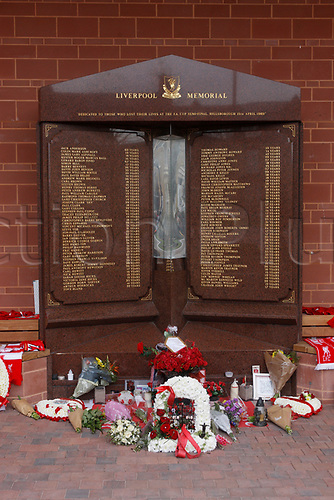April 5th 2017,  Anfield, Liverpool, Merseyside; EPL Premier league football, Liverpool versus Bournemouth; The re-located Hillsborough Memorial outside the main stand at Anfield