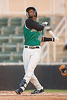 Juan Ciriaco (35) of the Augusta GreenJackets pops up a pitch at Fieldcrest Cannon Stadium in Kannapolis, NC, Wednesday August 20, 2008. (Photo by Brian Westerholt / Four Seam Images)