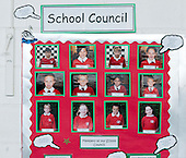 Photos of School Council members on noticeboard, state Primary school.