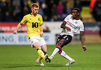 Bolton Wanderers' Lloyd Dyer competing with Blackburn Rovers'  Harrison Reed<br /> <br /> Photographer Andrew Kearns/CameraSport<br /> <br /> The EFL Sky Bet Championship - Bolton Wanderers v Blackburn Rovers - Saturday 6th October 2018 - University of Bolton Stadium - Bolton<br /> <br /> World Copyright &copy; 2018 CameraSport. All rights reserved. 43 Linden Ave. Countesthorpe. Leicester. England. LE8 5PG - Tel: +44 (0) 116 277 4147 - admin@camerasport.com - www.camerasport.com