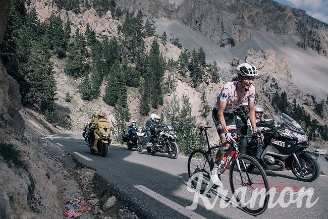 Polka Dot Jersey / KOM leader Warren Barguil (FRA/Sunweb) about to catch stage leader Atapuma in the final kilometers up the Col d'Izoard (HC/2360m/14.1km/7.3%)<br /> <br /> 104th Tour de France 2017<br /> Stage 18 - Briancon &rsaquo; Izoard (178km)