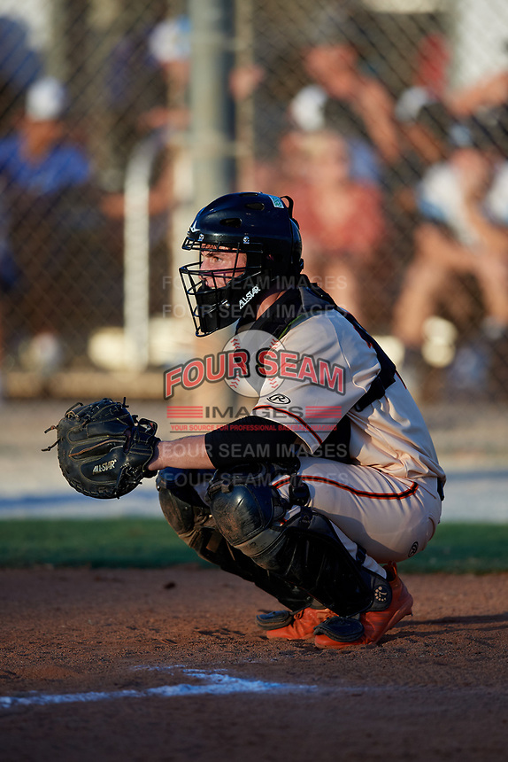Benjamin Rozenblum during the WWBA World Championship at the Roger Dean Complex on October 19, 2018 in Jupiter, Florida.  Benjamin Rozenblum is a catcher from Coral Springs, Florida who attends Calvary Christian Academy and is committed to Florida International.  (Mike Janes/Four Seam Images)