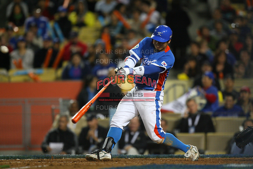 Jong Wook Lee of Korea during a game against Venezuela at the World Baseball Classic at Dodger Stadium on March 21, 2009 in Los Angeles, California. (Larry Goren/Four Seam Images)