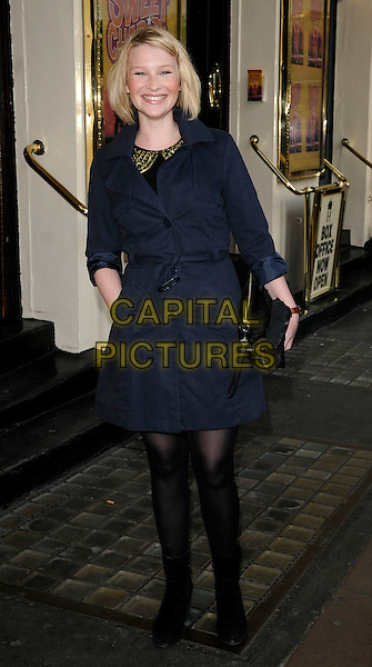 JOANNA PAGE.Attending the 'Sweet Charity' Press Night at the Theatre Royal, Haymarket, London, England UK, May 4th 2010. .full length blue mac jacket black tights clutch bag hand in pocket.CAP/CAN.©Can Nguyen/Capital Pictures.