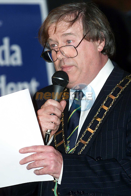 Mayor Frank Godfrey speaking at the launch of the Drogheda United School of Excellence..Picture: Paul Mohan/Newsfile