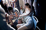 JOHANNESBURG, SOUTH AFRICA - MARCH 26: Models rest backstage before a fashion show at the South African fashion week on March 26, 2010, Turbine Hall in central Johannesburg, South Africa. Buyers and celebrities watched the 3 day fashion week, a biannual event. (Photo by Per-Anders Pettersson)