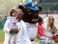 Buffalo Bills running back Fred Jackson poses for photos with his family before a Buffalo Bisons game against the Lehigh Valley IronPigs at Coca-Cola Field on April 19, 2012 in Buffalo, New York.  Lehigh Valley defeated Buffalo 8-4.  (Mike Janes/Four Seam Images)