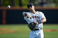 Buies Creek Astros third baseman Abraham Toro (31) warms up in the outfield prior to the game against the Frederick Keys at Jim Perry Stadium on April 28, 2018 in Buies Creek, North Carolina. The Astros defeated the Keys 9-4.  (Brian Westerholt/Four Seam Images)