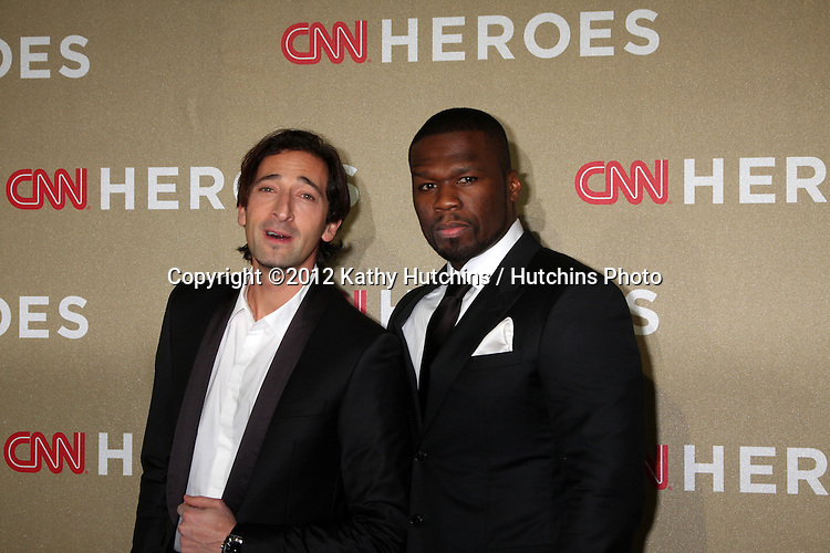 LOS ANGELES - DEC 2:  Adrien Brody; 50 Cent, aka Curtis Jackson arrives to the 2012 CNN Heroes Awards at Shrine Auditorium on December 2, 2012 in Los Angeles, CA