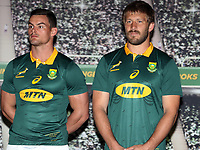 Jesse Kriel with Frans Steyn during the South African Official Springbok team photograph at the team hotel Southern Sun Pretoria Hotel,Pretoria South Africa. 9th June 2017(Photo by Steve Haag Sports)