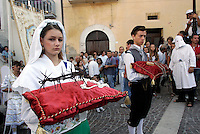 Figuranti si preparano alla processione conclusiva dei Riti Settennali dedicati alla Vergine Assunta a Guardia Sanframondi, 22 agosto 2010..Figurants prepare to take part in the procession closing the septennial rites in honour of the Virgin Assunta, in the village of Guardia Sanframondi, southern Italy, 22 august 2010..UPDATE IMAGES PRESS/Riccardo De Luca