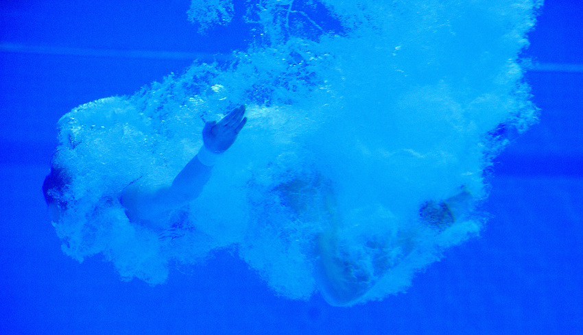 Russia's Inge Janson underwater during the practice session<br /> <br /> Photographer Hannah Fountain/CameraSport<br /> <br /> FINA/CNSG Diving World Series 2019 - Day 3 - Sunday 19th May 2019 - London Aquatics Centre - Queen Elizabeth Olympic Park - London<br /> <br /> World Copyright © 2019 CameraSport. All rights reserved. 43 Linden Ave. Countesthorpe. Leicester. England. LE8 5PG - Tel: +44 (0) 116 277 4147 - admin@camerasport.com - www.camerasport.com
