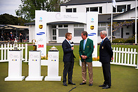 CBS broadcaster Bill Macatee (left) interviews Augusta chairman Fred Ridley (centre) and R&A chief executive Martin Slumbers on day one of the 2017 Asia-Pacific Amateur Championship day one at Royal Wellington Golf Club in Wellington, New Zealand on Thursday, 26 October 2017. Photo: Dave Lintott / lintottphoto.co.nz