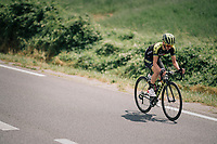 Adam Yates (GBR/Mitchelton-Scott) is the first rider to try and set up an escape<br /> <br /> Stage 15: Millau &gt; Carcassonne (181km)<br /> <br /> 105th Tour de France 2018<br /> &copy;kramon