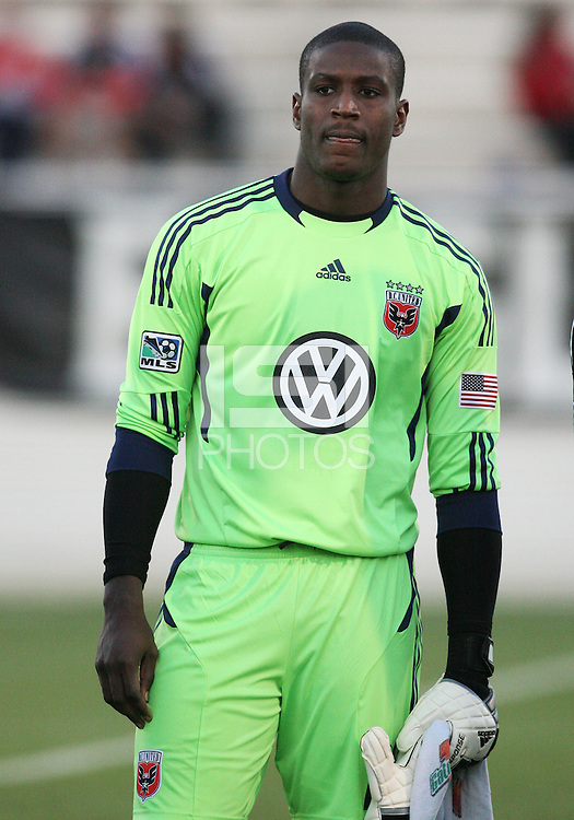 Bill Hamid(28) of D.C. United  during a play-in game for the US Open Cup tournament against the Philadelphia Union at Maryland Sportsplex, in Boyds, Maryland on April 6 2011. D.C. United won 3-2 after overtime penalty kicks.