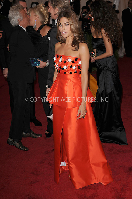 """WWW.ACEPIXS.COM . . . . . .May 7, 2012...New York City...Eva Mendes attending the """"Schiaparelli and Prada: Impossible Conversations"""" Costume Institute Gala at The Metropolitan Museum of Art in New York City on May 7, 2012  in New York City ....Please byline: KRISTIN CALLAHAN - ACEPIXS.COM.. . . . . . ..Ace Pictures, Inc: ..tel: (212) 243 8787 or (646) 769 0430..e-mail: info@acepixs.com..web: http://www.acepixs.com ."""