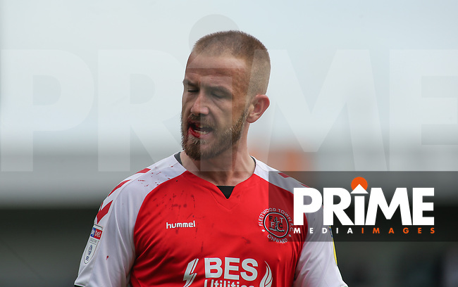 Patrick Madden of Fleetwood Town shows  signs of a facial injury with blood during the Sky Bet League 1 match between Fleetwood Town and Rochdale at Highbury Stadium, Fleetwood, England on 18 August 2018. Photo by Stephen Gaunt / PRiME Media Images.
