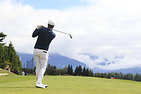 Lucas Bjerregaard (DEN) tees off the 7th tee during Sunday's Final Round of the 2017 Omega European Masters held at Golf Club Crans-Sur-Sierre, Crans Montana, Switzerland. 10th September 2017.<br /> Picture: Eoin Clarke | Golffile<br /> <br /> <br /> All photos usage must carry mandatory copyright credit (&copy; Golffile | Eoin Clarke)