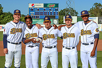 Burlington Bees Parker Joe Robinson, Hector Yan, Keinner Pina, Chad Sykes, and Jose Soriano pose for a photo before a Midwest League game against the Clinton LumberKings on August 28, 2019 at Community Field in Burlington, Iowa.  Parker, Robinson, Yan, Sykes, Soriano combined for a no-hitter with catcher Pina.  Clinton defeated Burlington 5-0.  (Travis Berg/Four Seam Images)