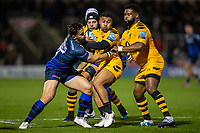 8th November 2019; AJ Bell Stadium, Salford, Lancashire, England; English Premiership Rugby, Sale Sharks versus Coventry Wasps; Lima Sopoaga of Wasps is tackled by Rohan Janse van Rensburg of Sale Sharks - Editorial Use