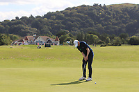 Ronan Mullarney from Ireland on the 1st green during Round 1 Singles of the Men's Home Internationals 2018 at Conwy Golf Club, Conwy, Wales on Wednesday 12th September 2018.<br /> Picture: Thos Caffrey / Golffile<br /> <br /> All photo usage must carry mandatory copyright credit (© Golffile | Thos Caffrey)