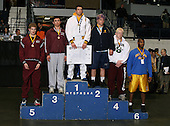 Paul Glover (1st - Spencerport); Rob Eskander (2nd - Webster Thomas); Tim Elbert (3rd - Queensbury); Spencer DeSena (4th - Garden City); Colin Berry (5th - Johnson City); and James Chaplin (6th - Fowler) pose on the podium for the Division One 215 weight class during the NY State Wrestling Championship finals at Blue Cross Arena on March 9, 2009 in Rochester, New York.  (Copyright Mike Janes Photography)