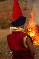 Buddhist monk in the Losar bonfire ceremony in Sikkim, India