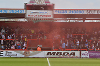 Stevenage fans let off flare during Stevenage vs Cambridge United, Sky Bet EFL League 2 Football at the Lamex Stadium on 14th April 2018