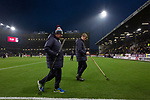The groundsmen walking across the pitch at half-time as Burnley hosted Everton in an English Premier League fixture at Turf Moor. Founded in 1882, Burnley played their first match at the ground on 17 February 1883 and it has been their home ever since. The visitors won the match 5-1, watched by a crowd of 21,484.