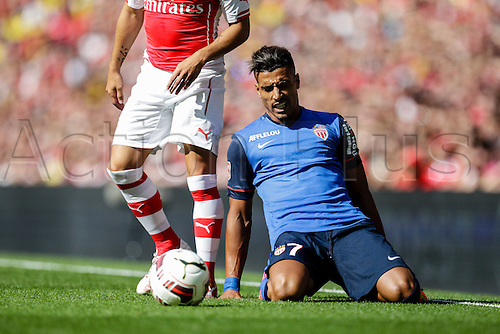 03.08.2014. London, England. Emirates Cup.  Arsenal versus AS Monaco.   AS Monaco's Nabil DIRAR grimaces after a heavy challenge  With Monaco winning 0-1 and Valencia winning earlier in the day, Valencia won the tournament trophy.