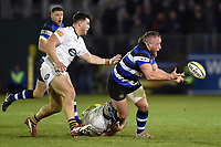 Max Lahiff of Bath Rugby offloads the ball. Aviva Premiership match, between Bath Rugby and Wasps on December 29, 2017 at the Recreation Ground in Bath, England. Photo by: Patrick Khachfe / Onside Images