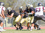 Palos Verdes, CA 09/16/16 - Nathanial Coleman (Peninsula #27) and Spencer Ness (Peninsula #52) in action during the Torrance - Palos Verdes Peninsula CIF Varsity football game.