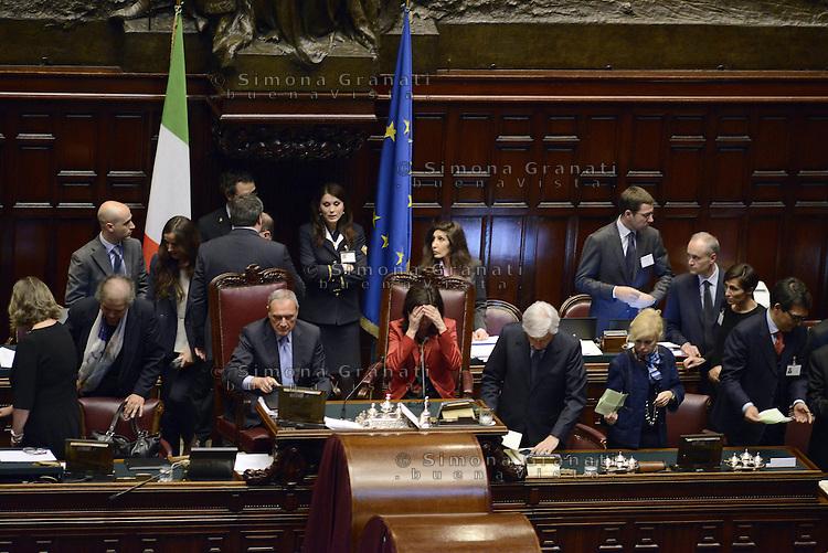 Roma, 19 Aprile 2013.Camera dei Deputati.Votazione del Presidente della Repubblica a camere riunite.Quarto Scrutinio.Laura Boldrini e Pietro Grasso.Lo spoglio