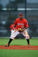GCL Astros second baseman Jonathan Matute (23) during a game against the GCL Braves on July 23, 2015 at the Osceola County Stadium Complex in Kissimmee, Florida.  GCL Braves defeated GCL Astros 4-2.  (Mike Janes/Four Seam Images)