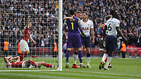 Tottenham Hotspur's Hugo Lloris is congratulated by Toby Alderweireld after saving Arsenal's Pierre-Emerick Aubameyang's penalty<br /> <br /> Photographer Rob Newell/CameraSport<br /> <br /> The Premier League - Tottenham Hotspur v Arsenal - Saturday 2nd March 2019 - Wembley Stadium - London<br /> <br /> World Copyright © 2019 CameraSport. All rights reserved. 43 Linden Ave. Countesthorpe. Leicester. England. LE8 5PG - Tel: +44 (0) 116 277 4147 - admin@camerasport.com - www.camerasport.com