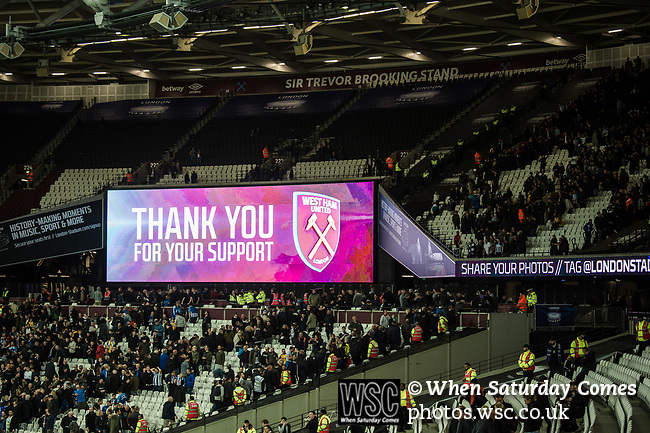 West Ham United 0 Brighton & Hove Albion 3, 20/10/2017. London Stadium, Premier League. A sign thanking fans for their support after the game. Photo by Simon Gill.