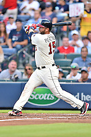 Atlanta Braves catcher A.J. Pierzynski (15) swings at a pitch during a game against the Chicago Cubs on July 18, 2015 in Atlanta, Georgia. The Cubs defeated the Braves 4-0. (Tony Farlow/Four Seam Images)