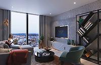 BNPS.co.uk (01202 558833)<br /> Pic: SothebysRealty/BNPS<br /> <br /> Room with a view...<br /> <br /> Is this the best view in London ...<br /> <br /> A stunning apartment offering a breathtaking panorama of the nation's capital has emerged for sale for £900,000.<br /> <br /> The stylish one bedroom flat is located on the 43rd floor of the new-build 704ft Valiant Tower in South Quay Plaza in Canary Wharf.<br /> <br /> It overlooks Greenwich and the River Thames, with London's major landmarks on display.<br /> <br /> The building has a rooftop terrace, a swimming pool and a gym, and is surrounded by waterside gardens.<br /> <br /> The flat is being sold with estate agent Sotheby's International Realty.