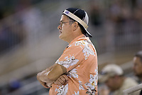 Kannapolis Intimidators Booster Club President Terrance OKeefe wears his rally cap in the 9th inning of the game against the Delmarva Shorebirds at Kannapolis Intimidators Stadium on June 30, 2017 in Kannapolis, North Carolina.  The Shorebirds defeated the Intimidators 6-4.  (Brian Westerholt/Four Seam Images)
