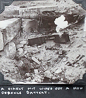 BNPS.co.uk (01202 558833)<br /> Pic: Tooveys/BNPS<br /> <br /> 'A direct hit wipes out a Hun defence battery'<br /> <br /> Incredibly rare 'action' shots from the Great War come to light...<br /> <br /> The harrowing photos, taken in the middle of an Allied offensive, show soldiers charging into action and bodies strewn on the battlefield.<br /> <br /> The dramatic photos were taken during fierce fighting with the Germans on the Western Front in late 1914.<br /> <br /> The images appear to show a more fluid and fast moving stage of the conflict before both sides became bogged down in the relentless trench warfare of later years.<br /> <br /> One captures the 'Leicester's suprising the Hun' showing the regiment in full flight as they launch a surprise attack on their German adversaries.
