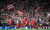 Bayern Munich players and supporters at full time during the UEFA Champions League group match between Tottenham Hotspur and Bayern Munich at Wembley Stadium, London, England on 1 October 2019. Photo by Andy Rowland.
